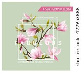 floral graphic design. magnolia ... | Shutterstock .eps vector #422953888