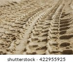 Close Up Shot Of Tire Print On...