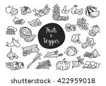fruit and vegetables doodle   Shutterstock .eps vector #422959018