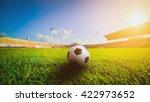 soccer ball on grass in soccer... | Shutterstock . vector #422973652