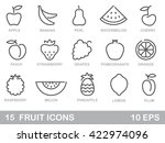 contour stylized fruit icons.... | Shutterstock .eps vector #422974096