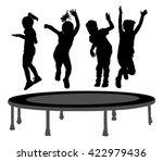 children silhouettes jumping on ... | Shutterstock .eps vector #422979436