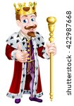 cute bearded king cartoon man... | Shutterstock . vector #422987668