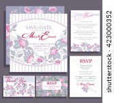 set of wedding cards with roses.... | Shutterstock .eps vector #423000352