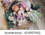 beautiful flower bouquet on the ... | Shutterstock . vector #423007432