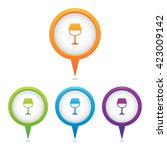 set of wine glass marker icons