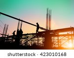 silhouette of construction... | Shutterstock . vector #423010168