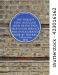Small photo of LONDON - MAY 15, 2016. A plaque celebrates the first regular television service on the wall of Alexandra Palace, a historic events venue, informally known as Ally Pally, in north London, UK.