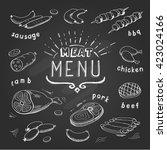 meat menu on chalkboard. set of ... | Shutterstock .eps vector #423024166