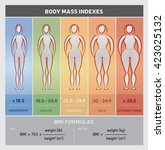 body mass index illustration... | Shutterstock .eps vector #423025132