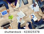 office busy meeting colleagues... | Shutterstock . vector #423025378