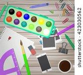 artist and designer desk.... | Shutterstock .eps vector #423030562