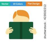 flat design icon of boy reading ...