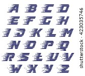 alphabet with fast speed lines. ... | Shutterstock .eps vector #423035746