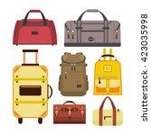 vector set of travel bags.... | Shutterstock .eps vector #423035998