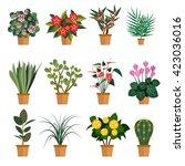 vector set of flowers....   Shutterstock .eps vector #423036016