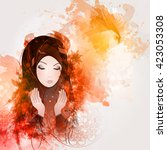 abstract illustration of girl... | Shutterstock .eps vector #423053308