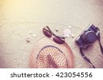 summer concept with accessories ... | Shutterstock . vector #423054556