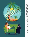 cool vector concept on tired... | Shutterstock .eps vector #423058066