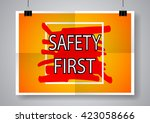 safety first colorful poster.... | Shutterstock .eps vector #423058666