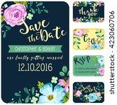 dark blue wedding invitation... | Shutterstock .eps vector #423060706