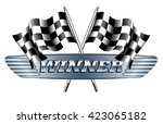 winner checkered  chequered... | Shutterstock . vector #423065182