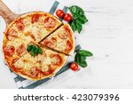 hot true pepperoni italian... | Shutterstock . vector #423079396