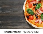 Top View Of Italian Pizza With...