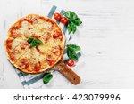 hot true pepperoni italian... | Shutterstock . vector #423079996
