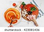 italian pizza cooking process... | Shutterstock . vector #423081436