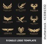 eagle logo set. bird logo.... | Shutterstock .eps vector #423081532