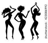 dancing girls. dance party... | Shutterstock .eps vector #423086992