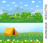 summer landscape with meadows... | Shutterstock .eps vector #423117742