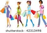 shopping girls   Shutterstock .eps vector #42313498