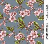 vector seamless floral pattern... | Shutterstock .eps vector #423136336