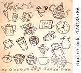 hand drawn tea time collection  ...   Shutterstock .eps vector #423136786