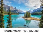 spirit island in maligne lake ... | Shutterstock . vector #423137002