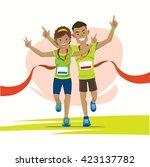 male and female runner cross... | Shutterstock .eps vector #423137782