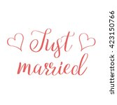 just married lettering.... | Shutterstock .eps vector #423150766