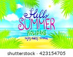 hello summer. poster on... | Shutterstock .eps vector #423154705