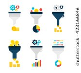 Funnel Chart Flat Objects Set...