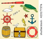 nautical hand drawn vector set. ... | Shutterstock .eps vector #423177376