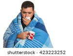 portrait of a sick man with the ... | Shutterstock . vector #423223252