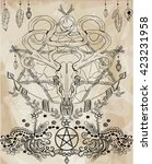 beautiful deer skull. vintage... | Shutterstock .eps vector #423231958