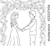 coloring page   wedding love... | Shutterstock .eps vector #423237436