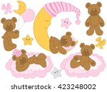baby bear with half moon   baby ... | Shutterstock .eps vector #423248002