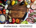 ingredients for cooking healthy ... | Shutterstock . vector #423253312