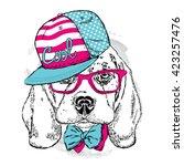 cute puppy wearing a cap  ... | Shutterstock .eps vector #423257476