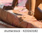 closeup woman's muddy hands...   Shutterstock . vector #423263182