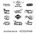 hand drawn farm fresh logo set. ... | Shutterstock .eps vector #423265468